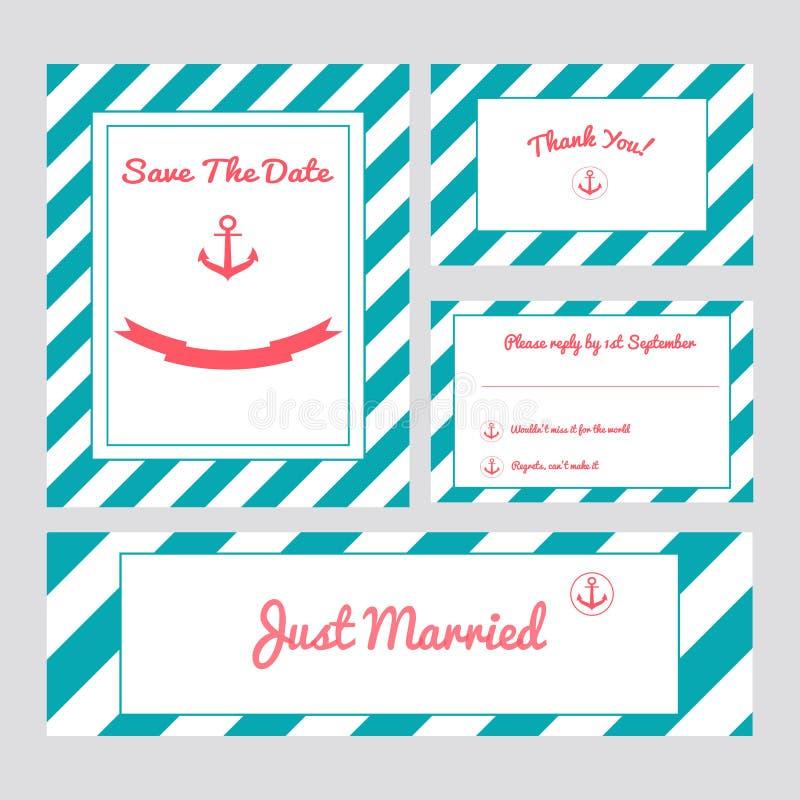 bröllop för kortset royaltyfri illustrationer