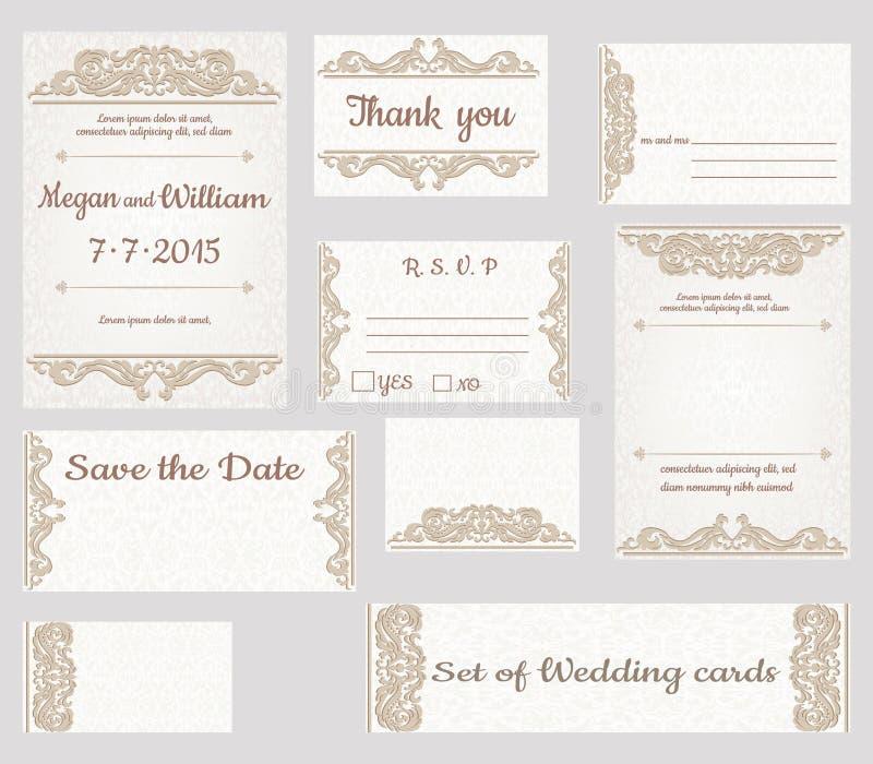 bröllop för kortset vektor illustrationer