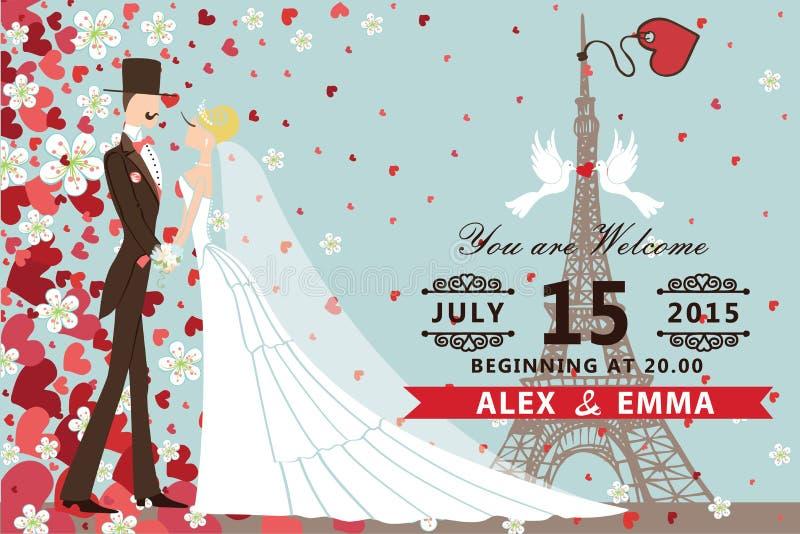 bröllop för romantiskt symbol för inbjudan för bakgrundseleganshjärtor varmt Bruden brudgummen, hjärtor, blommar stock illustrationer