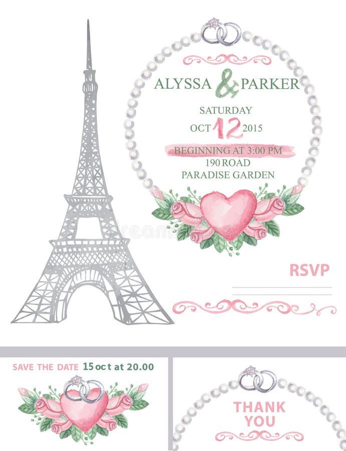 bröllop för romantiskt symbol för inbjudan för bakgrundseleganshjärtor varmt Eiffeltorn vattenfärg steg royaltyfri illustrationer