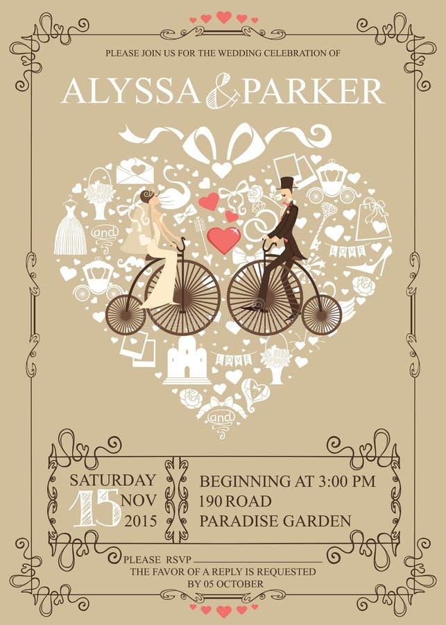 bröllop för romantiskt symbol för inbjudan för bakgrundseleganshjärtor varmt Hjärtasammansättning Brud brudgum royaltyfri illustrationer