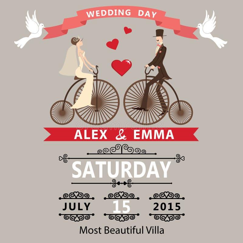bröllop för romantiskt symbol för inbjudan för bakgrundseleganshjärtor varmt Tecknad filmbrudbrudgum på den retro cykeln vektor illustrationer