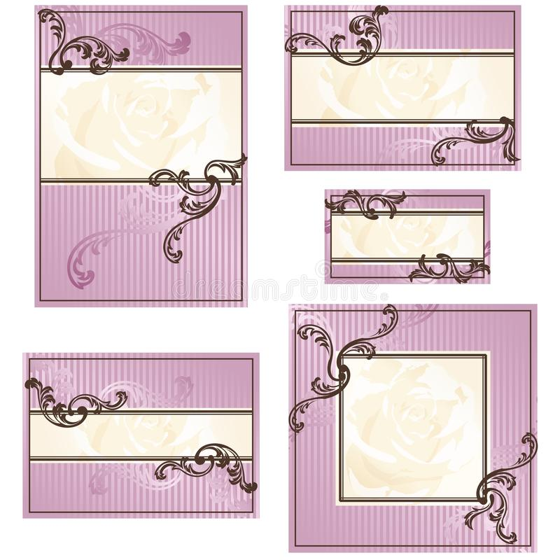 bröllop för rosa rokokor för designer set royaltyfri illustrationer