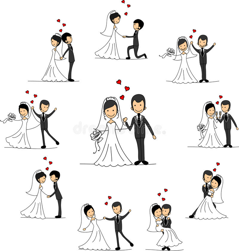 bröllop för tecknad filmteckenvektor royaltyfri illustrationer