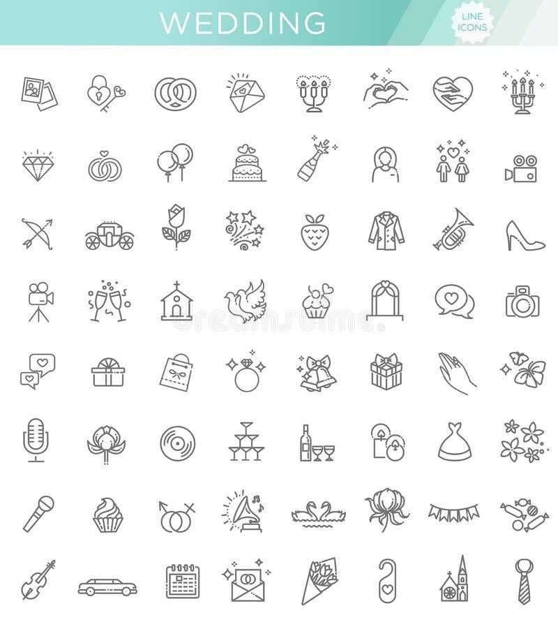 Bröllop för uppsättning för översiktsrengöringsduksymbol royaltyfri illustrationer