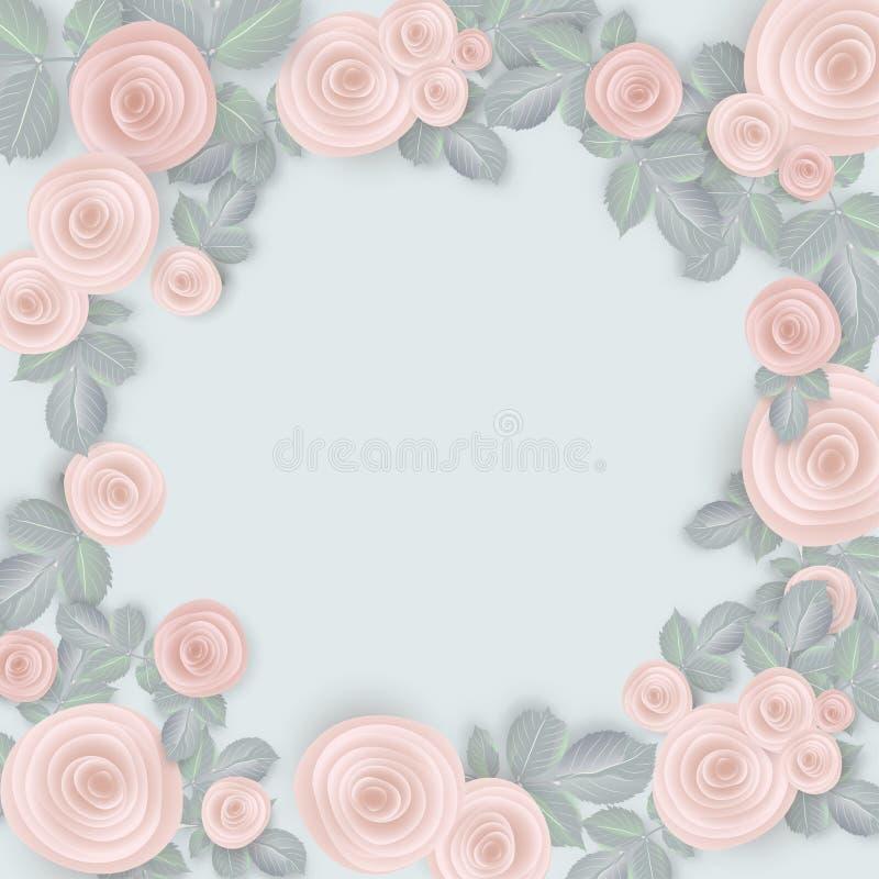 bröllop för valentin för ro för bakgrundspetal rose Rosa rosor på en blå bakgrund stock illustrationer