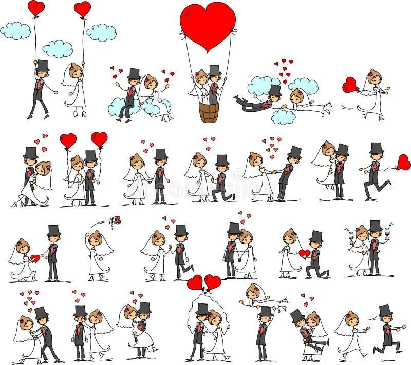 bröllop för vektor för brudbrudgum älskvärt stock illustrationer