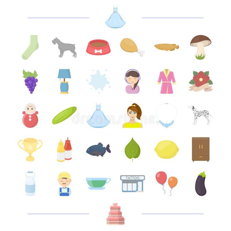 Bröllop, grönsaken och annan rengöringsduksymbol i tecknad film utformar yrke djur, avelsymboler i uppsättningsamling stock illustrationer