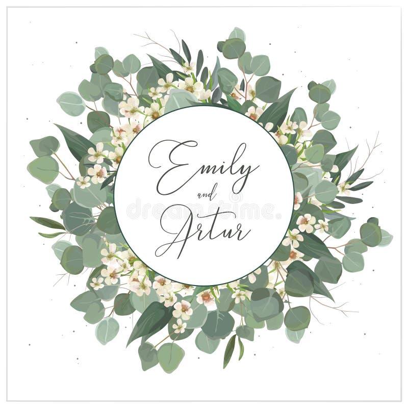 Bröllop inviterar, inbjudan, sparar den blom- designen för datumkortet Kransmonogram med sidor för silverdollareukalyptusgrönska  royaltyfri illustrationer