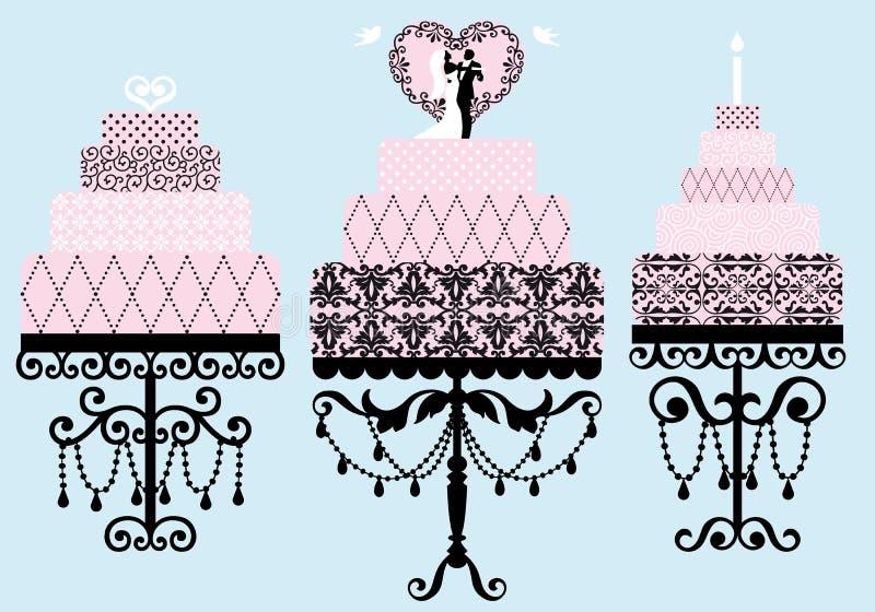 Bröllop- och födelsedagcakes, vektor vektor illustrationer