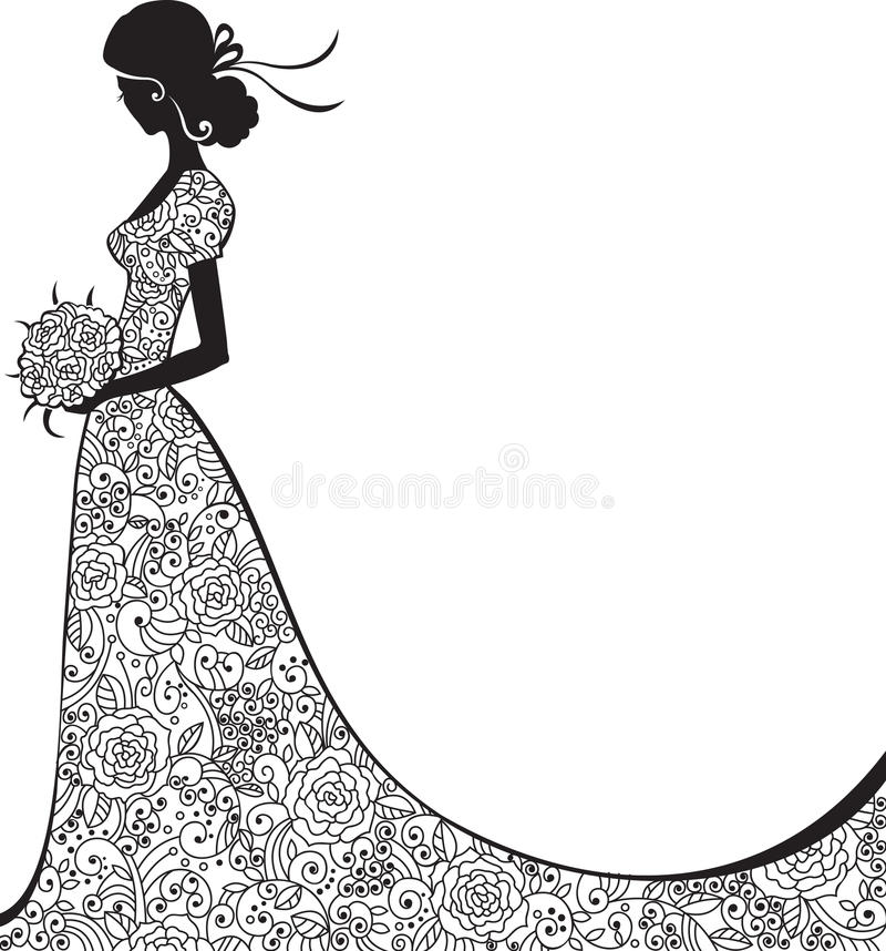 Elegant silhouette av bruden royaltyfri bild
