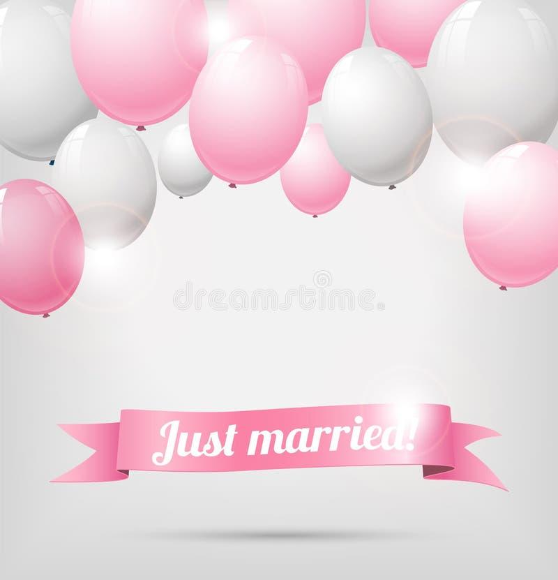 Bröllopbaner med rosa färg- och vitballonger stock illustrationer
