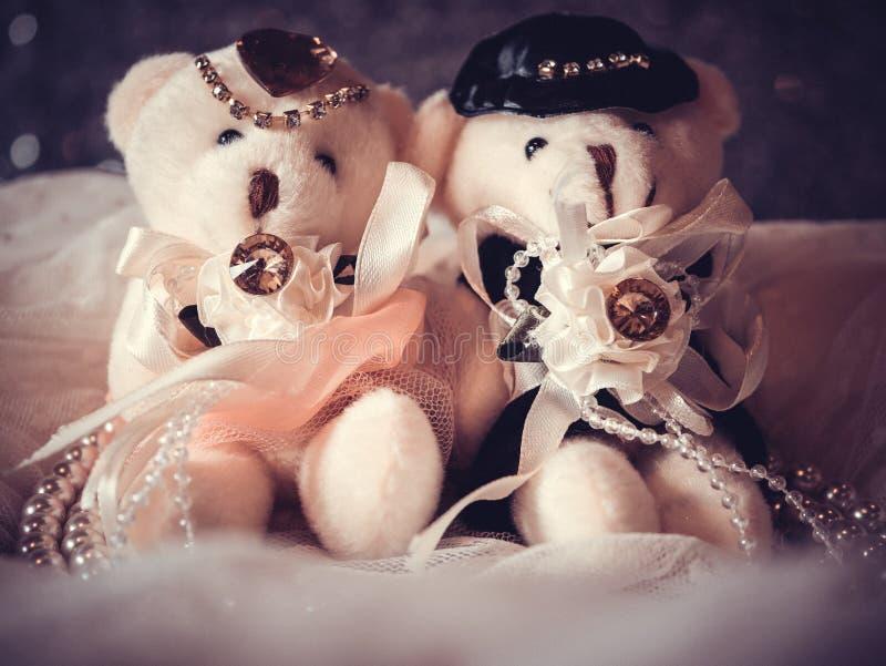 Bröllopbegrepp: Par Teddy Bears i bröllopsklänning royaltyfri bild