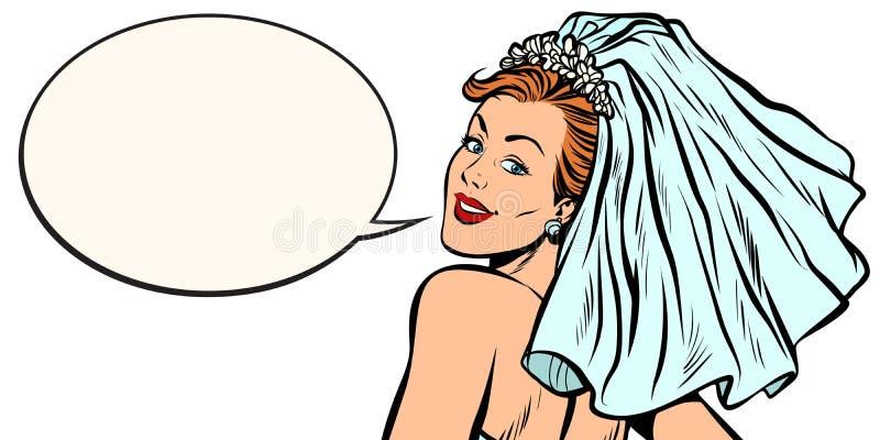 Bröllopbegreppet, bruden vände omkring och att se över din shou stock illustrationer