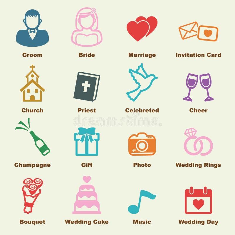 Bröllopbeståndsdelar royaltyfri illustrationer