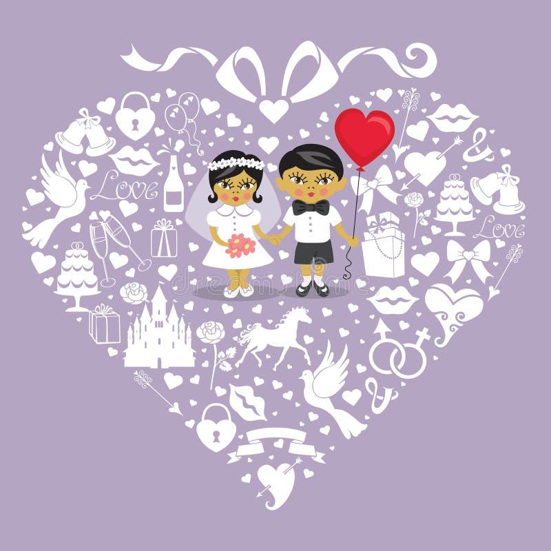 Bröllopbeståndsdelar i hjärtasammansättning med behandla som ett barn bruden och groo vektor illustrationer