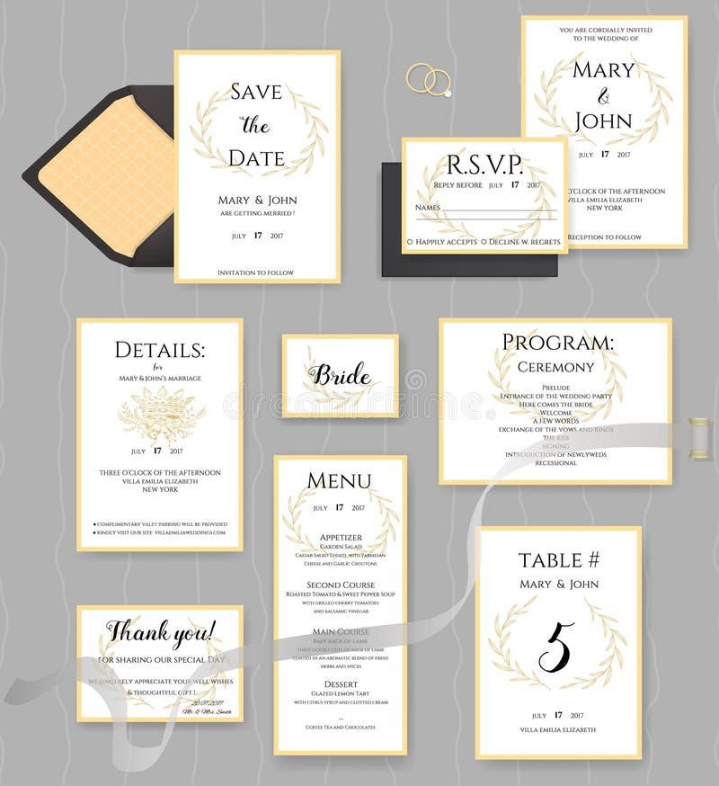 Bröllopbrevpappersamling Vektoruppsättning av inbjudankort vektor illustrationer