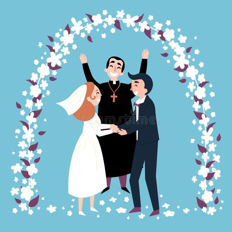 Bröllopceremoni, båge, lycklig präst och nygifta personer stock illustrationer