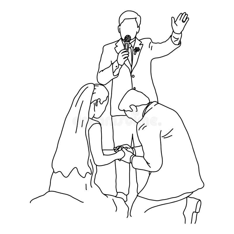 Bröllopceremoni med illustrationen för brudbrudgum- och prästvektorn skissar klotterhanden som dras med svarta linjer som isolera royaltyfri illustrationer