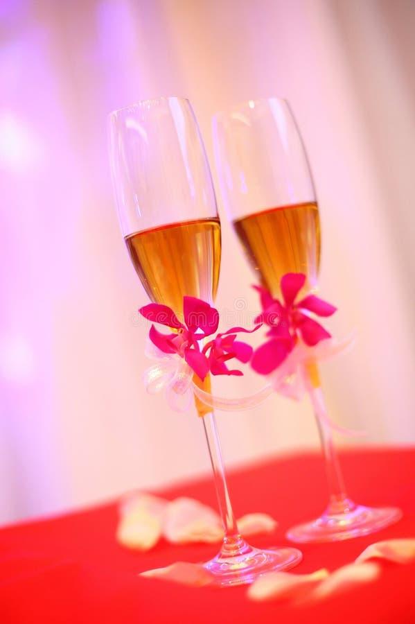 Bröllopchampagneexponeringsglas Royaltyfri Bild