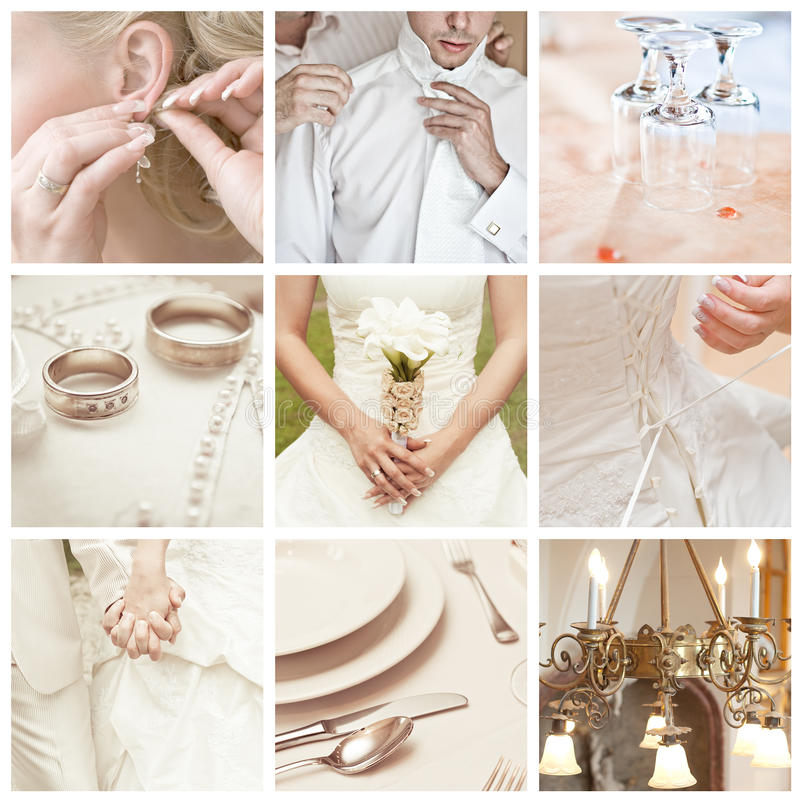 Bröllopcollage arkivfoto