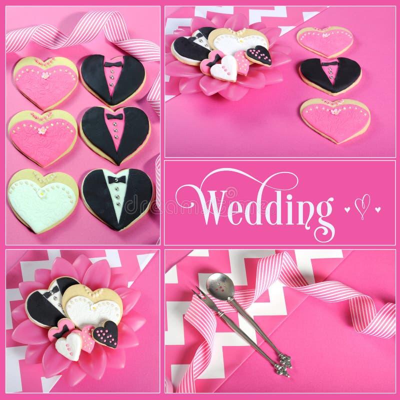 Bröllopcollage av fyra rosa färger, den svartvita bruden och brudgumhjärtakakor arkivfoton