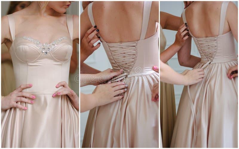 Bröllopcollage - härlig beige rygglös klänning på brud fotografering för bildbyråer