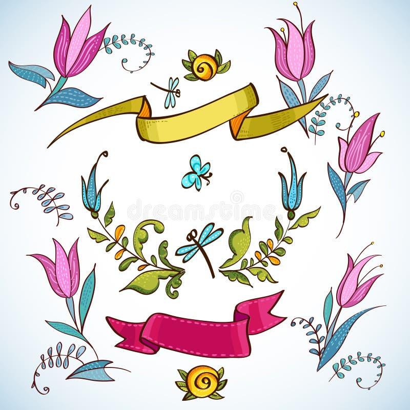 Bröllopdiagramuppsättning, lager, kransar, band vektor illustrationer