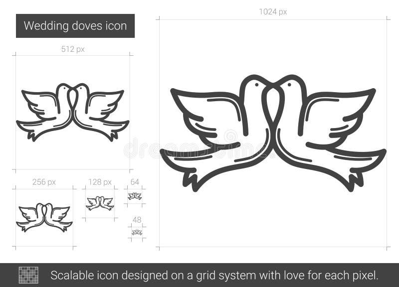 Bröllopduvalinje symbol vektor illustrationer