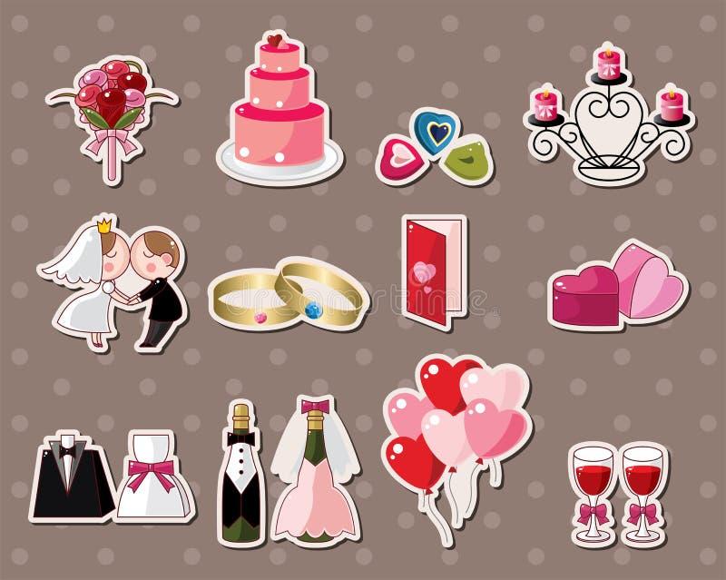Bröllopetiketter royaltyfri illustrationer