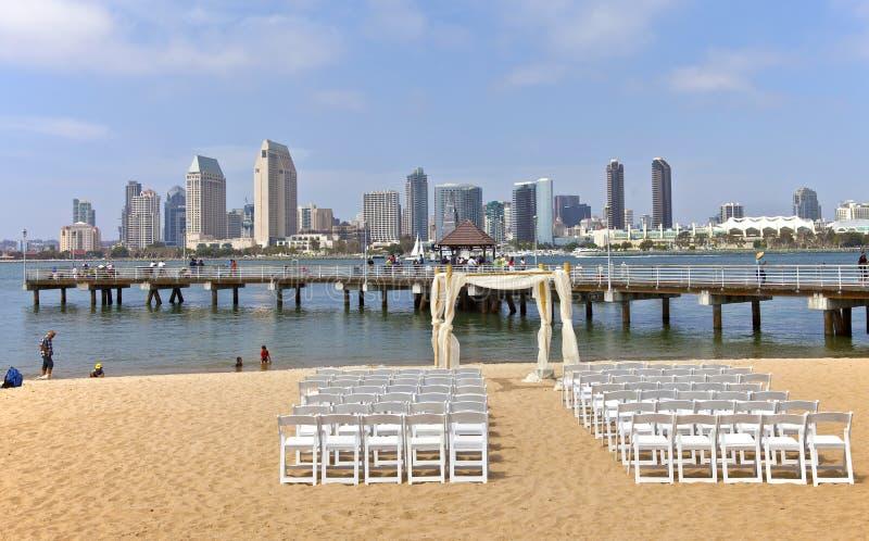 Bröllopförberedelser på den Coronado ön San Diego California. arkivbild