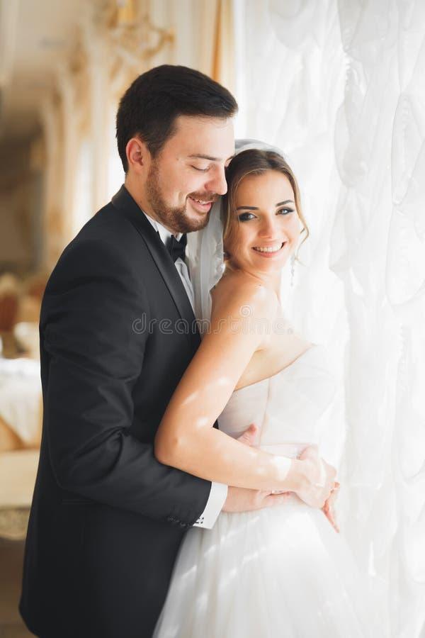 Bröllopfotoforsen av nygifta personerna kopplar ihop att posera i ett härligt hotell royaltyfria foton