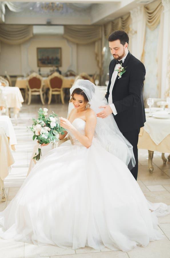 Bröllopfotoforsen av nygifta personerna kopplar ihop att posera i ett härligt hotell arkivbild