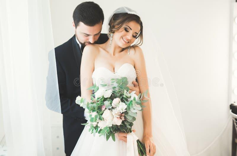 Bröllopfotoforsen av nygifta personerna kopplar ihop i ett härligt hotell som poserar nära fönster fotografering för bildbyråer