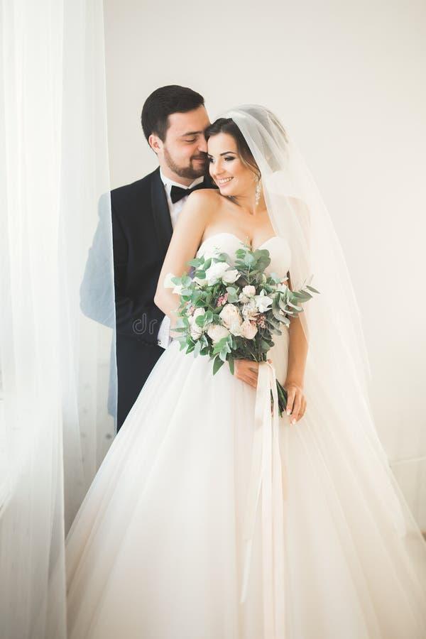Bröllopfotoforsen av nygifta personerna kopplar ihop i ett härligt hotell som poserar nära fönster royaltyfria bilder