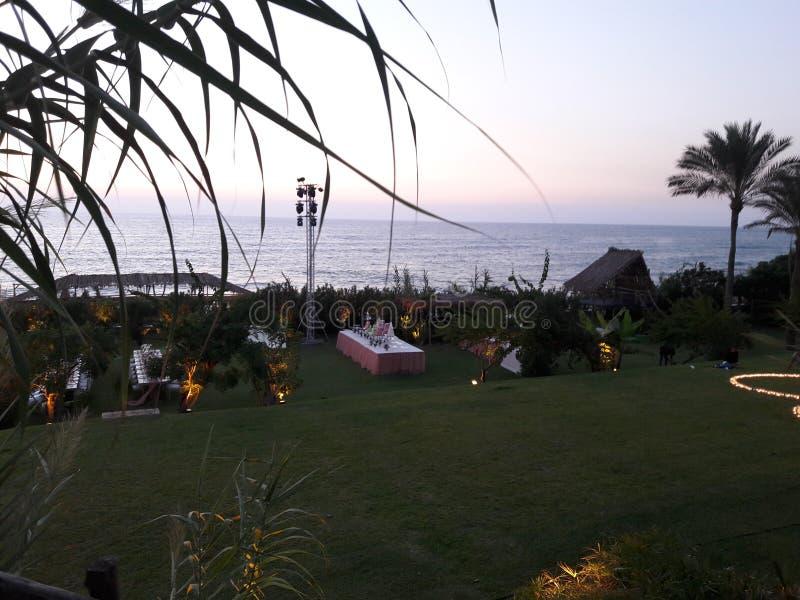 bröllophändelse på stranden i Libanon royaltyfri bild