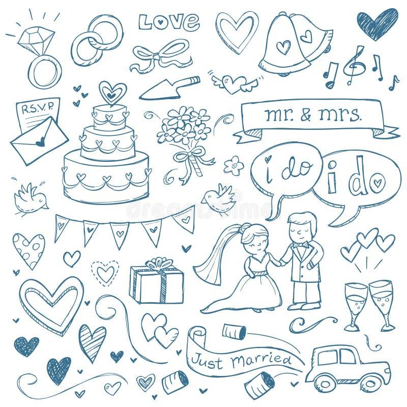 Gifta sig klotter stock illustrationer