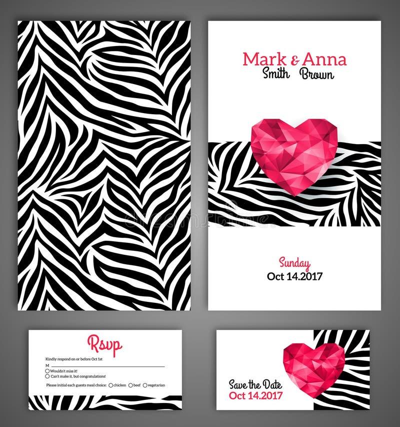 Bröllopinbjudan cards mallen med abstrakt begrepp vektor illustrationer