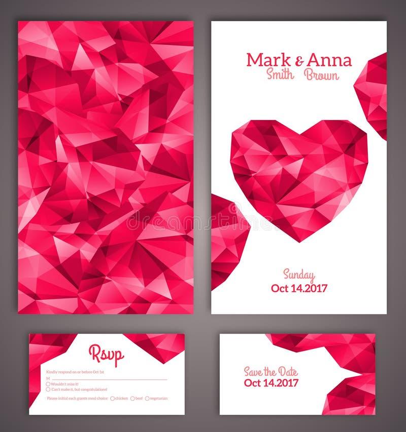 Bröllopinbjudan cards mallen med abstrakt begrepp royaltyfri illustrationer