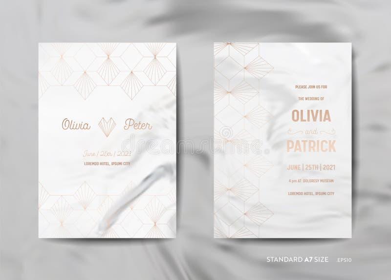 Bröllopinbjudan cards samlingen Spara datumet, RSVP med guld- geometrisk art déco för moderiktig marmortexturbakgrund vektor illustrationer