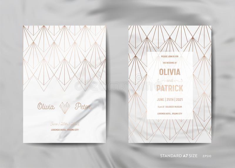 Bröllopinbjudan cards samlingen Spara datumet, RSVP med guld- geometrisk art déco för moderiktig marmortexturbakgrund stock illustrationer
