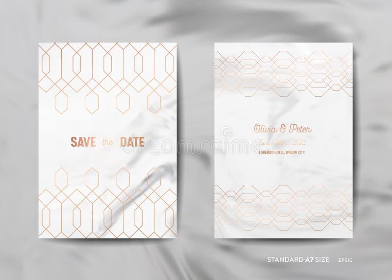 Bröllopinbjudan cards samlingen Spara datumet, RSVP med guld- geometrisk art déco för moderiktig marmortexturbakgrund royaltyfri illustrationer