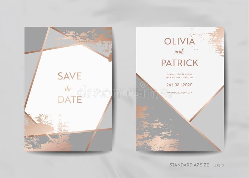 Bröllopinbjudan cards samlingen Spara datumet, RSVP med guld- geometrisk art déco för moderiktig texturbakgrund vektor illustrationer
