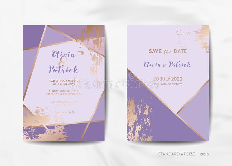 Bröllopinbjudan cards samlingen Spara datumet, RSVP med ramen för art déco för moderiktig violett texturbakgrund den geometriska vektor illustrationer