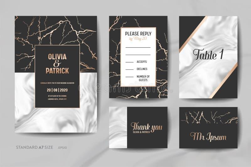 Bröllopinbjudan cards samlingen Spara datumet, RSVP, tecken med den geometriska ramen för moderiktig marmortexturbakgrund vektor illustrationer