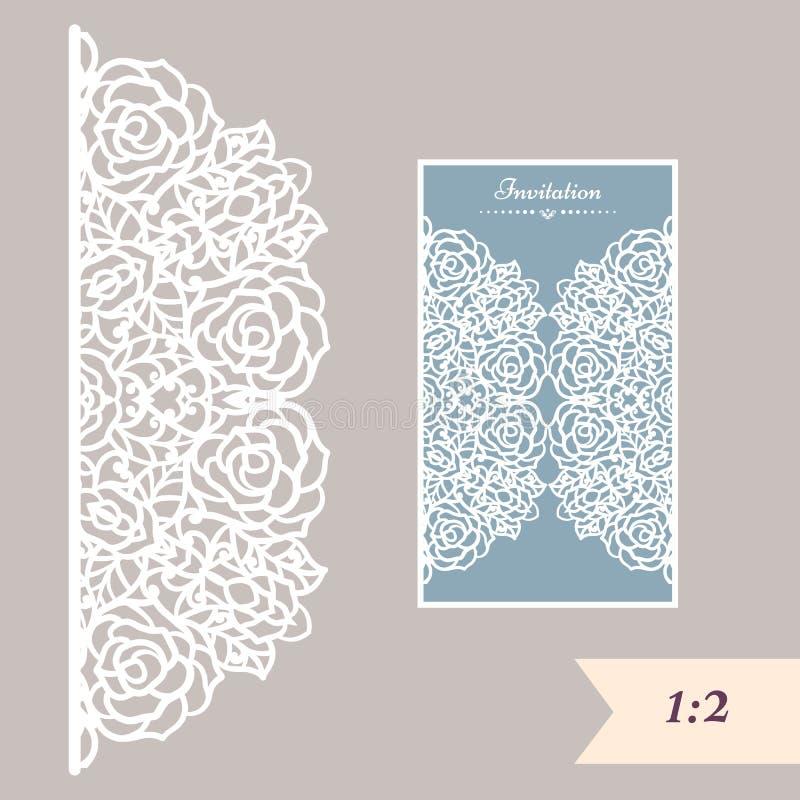 Bröllopinbjudan- eller hälsningkort med den abstrakta prydnaden Vektorkuvertmall för laser-klipp Papperssnittkort stock illustrationer