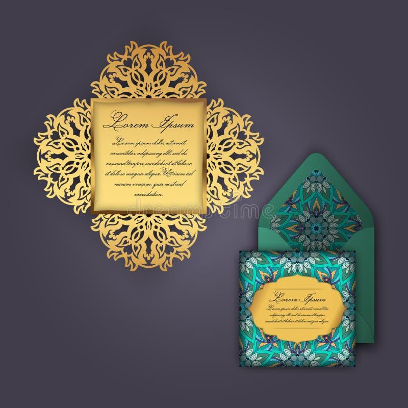 Bröllopinbjudan- eller hälsningkort med den blom- prydnaden för tappning Papper snör åt kuvertmallen, modellen för laser-klipp vektor illustrationer