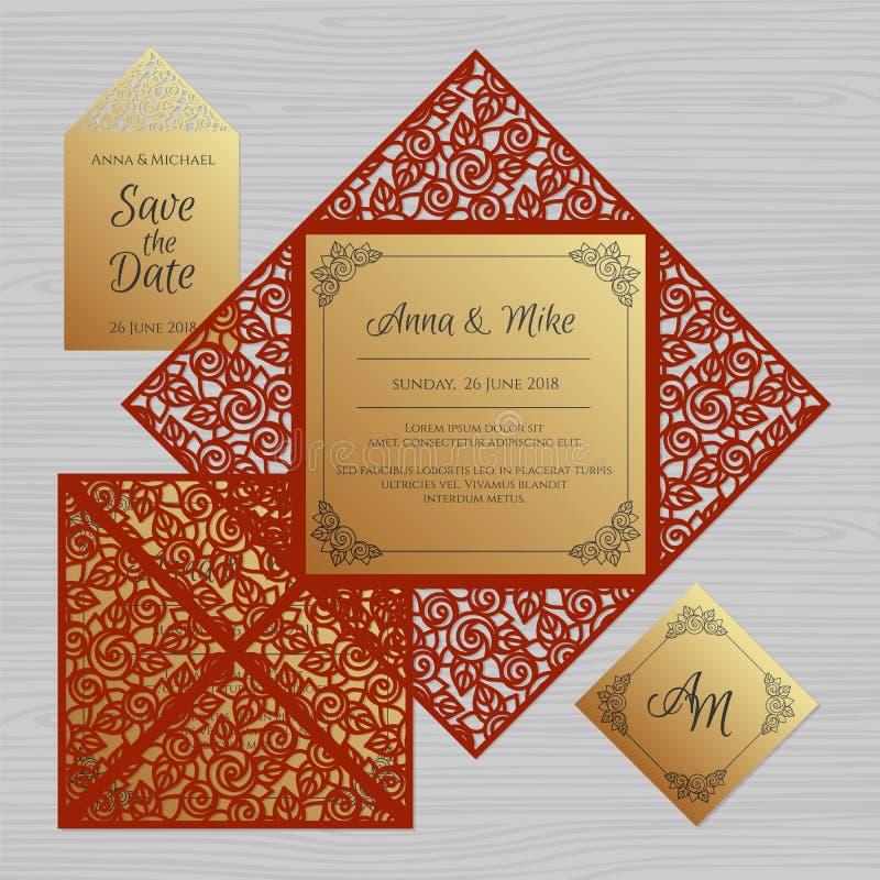 Bröllopinbjudan- eller hälsningkort med den blom- prydnaden Papper vektor illustrationer