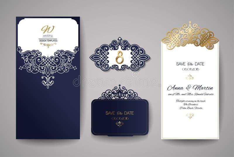 Bröllopinbjudan- eller hälsningkort med den guld- blom- prydnaden Bröllopinbjudankuvert för laser-klipp vektor illustrationer