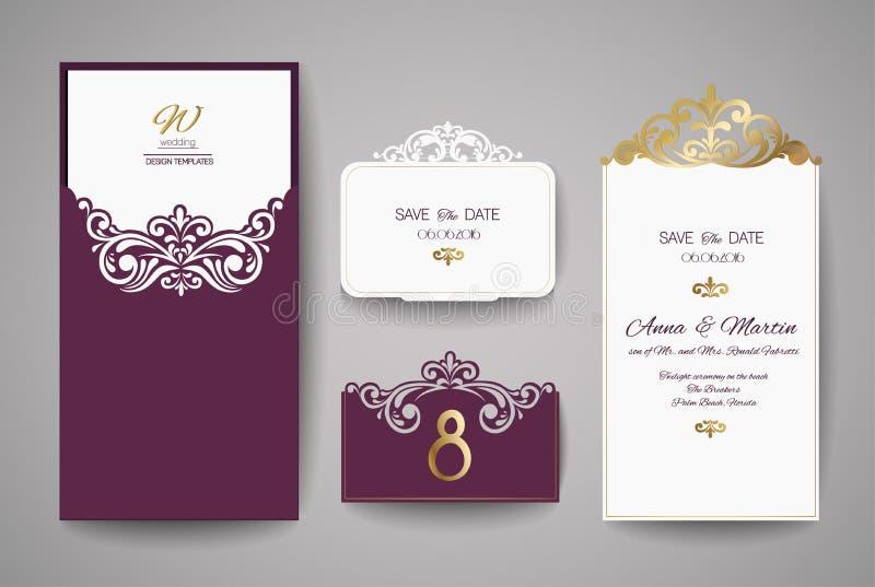 Bröllopinbjudan- eller hälsningkort med den guld- blom- prydnaden Bröllopinbjudankuvert för laser-klipp stock illustrationer